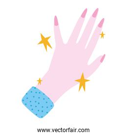 manicure, beautiful woman hand with pink nail polish in cartoon style