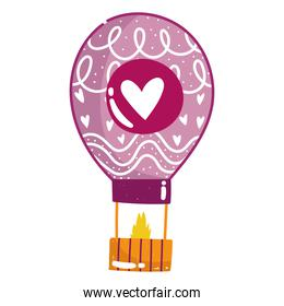 love hot air balloon romantic decoration in cartoon style design
