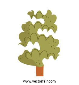 winter tree with snow greenery forest cartoon icon