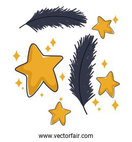 gold stars and feathers decoration ornament cartoon design