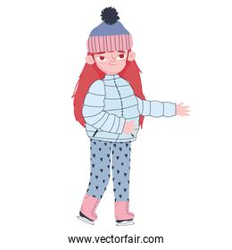 cute girl with winter clothes hat jacket and boots cartoon