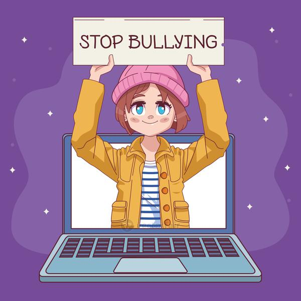 cute little girl with stop bullying banner in laptop comic manga character