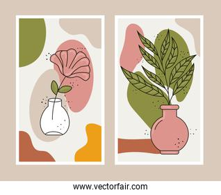 boho style two leafs plants in ceramic vases