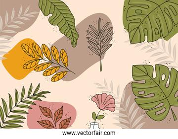 leafs and colors plants boho style pattern background