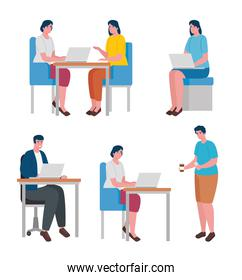 teamwork of six workers coworking office characters