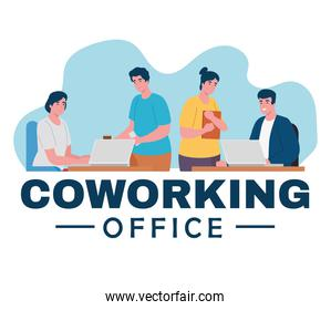 group of four workers coworking office characters