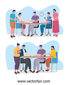 group of nine workers coworking office characters