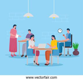group of five workers coworking in the office characters