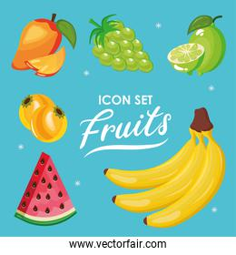 bundle of six fresh fruits set icons and lettering