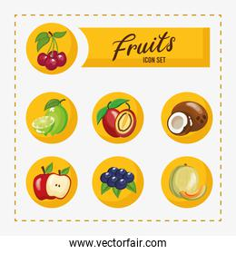 bundle of seven fresh fruits set icons and lettering