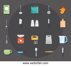 bundle of twenty kitchen utensils set icons