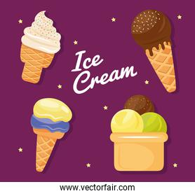 bundle of four ice creams set icons and lettering
