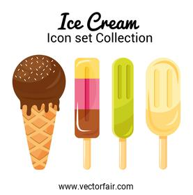 bundle of four ice creams and lettering