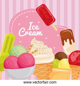 bundle of seven ice creams and lettering