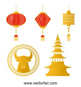 happy chinese new year set icons