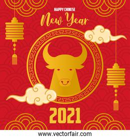 chinese new year 2021 card with golden ox