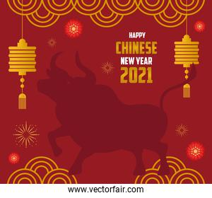 chinese new year 2021 card with silhouette ox and decoration