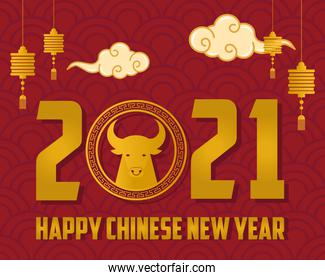 chinese new year 2021 card with golden ox and lettering