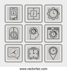 bundle of nine time set line style icons in gray background