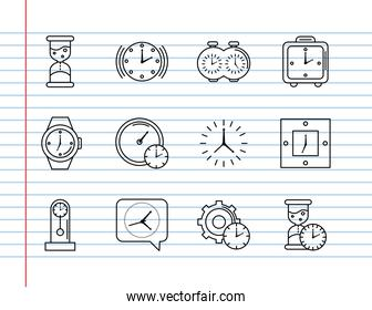 bundle of twelve time set line style icons in notebook sheet