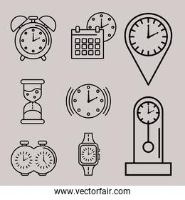 bundle of nine time set line style icons