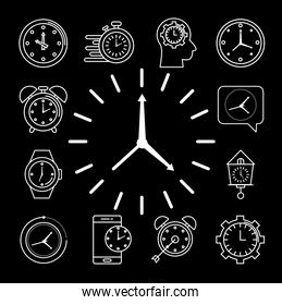 bundle of twelve time set line style icons in black background