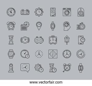 bundle of thirty time set line style icons