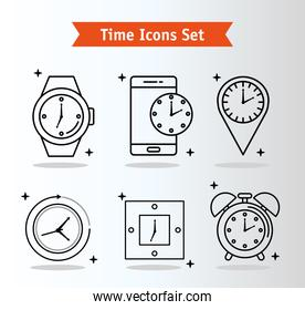 bundle of six time set line style icons and lettering in ribbon
