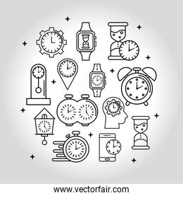 bundle of thirteen time set line style icons