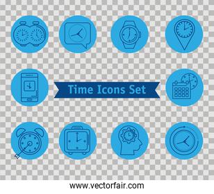 bundle of ten time set line style icons and lettering in ribbon