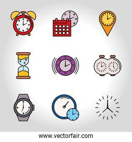 bundle of nine time set line and fill style icons in gray background