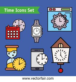 bundle of twelve time set line and fill style icons and lettering in ribbon