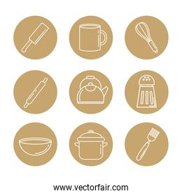 nine kitchen utensils set block  icons