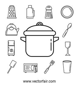 bundle of thirteen kitchen utensils set icons