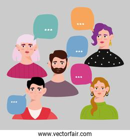 group of young persons avatars characters with speech bubbles