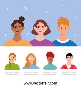 group of seven young persons avatars characters