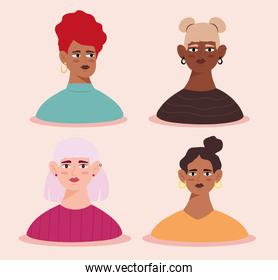 group of four young women avatars characters