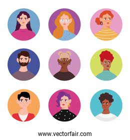 group of nine young persons avatars characters