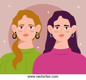 young women couple with long hair avatars characters