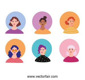 group of six young women avatars characters