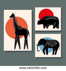 bundle of three animals contemporary silhouettes nature icons
