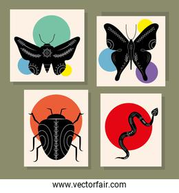 bundle of four animals contemporary silhouettes