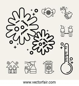 bundle of eight covid19 pandemic set line style icons