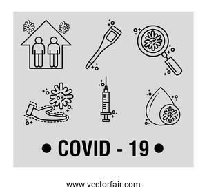 bundle of covid19 pandemic set line style icons and lettering