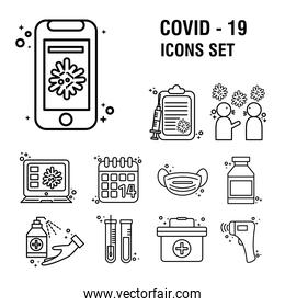 bundle of eleven covid19 pandemic set line style icons and lettering
