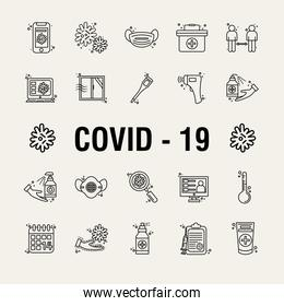 bundle of twenty two covid19 pandemic set line style icons and lettering