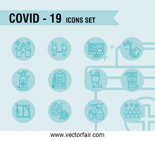 bundle of twelve covid19 pandemic set line style icons and lettering