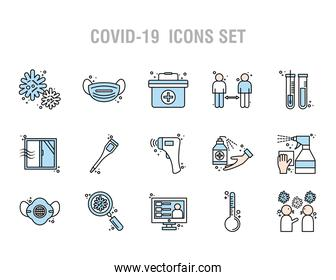 bundle of twelve covid19 pandemic set line and colors style icons