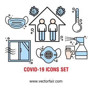 bundle of covid19 pandemic set line and colors style icons and lettering