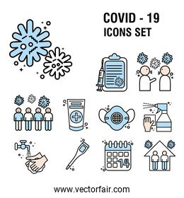 bundle of twenty two covid19 pandemic set line and colors style icons and lettering